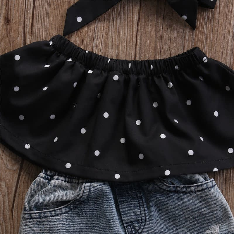 Baby Girl's Casual Dotted Clothing Set