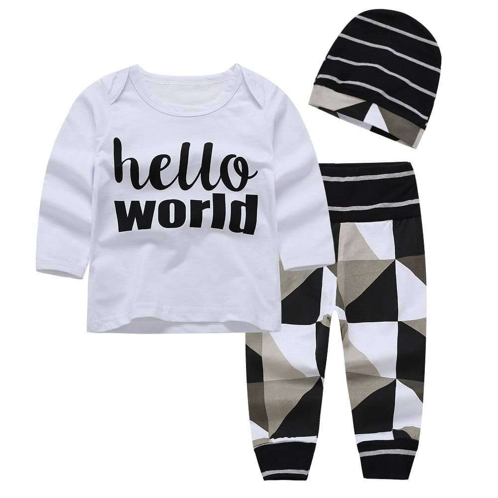 Baby Boy's Clothing Set with Hello Word Print